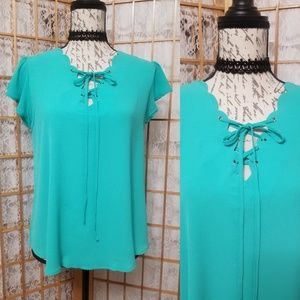 Tops - E (hanger) M Scallop Mint Blouse
